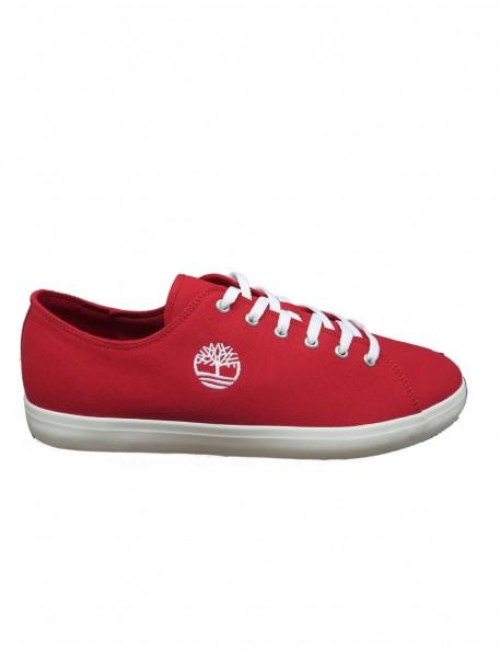 zapatilla tejido rojo